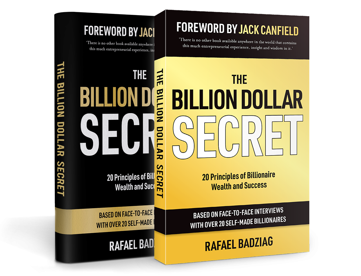 The Billion Dollar Secret by Rafael Badziag as black hardcover and yellow paperback